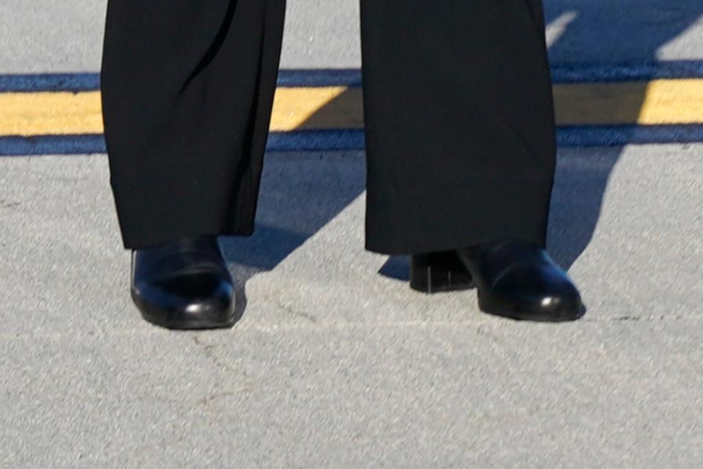 kamala harris, suit, black booties, denver
