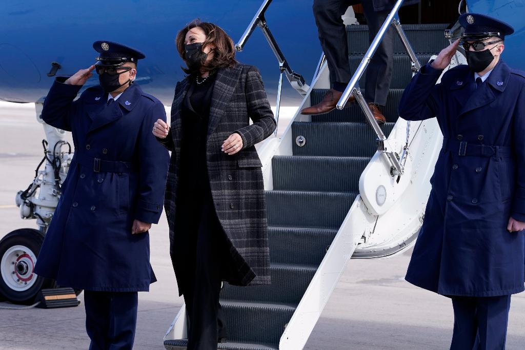 kamala harris, black suit, coat, booties, denver