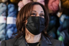 Kamala Harris Wears Her Signature Power Suit, Pearls & Pumps to Visit Small Businesses