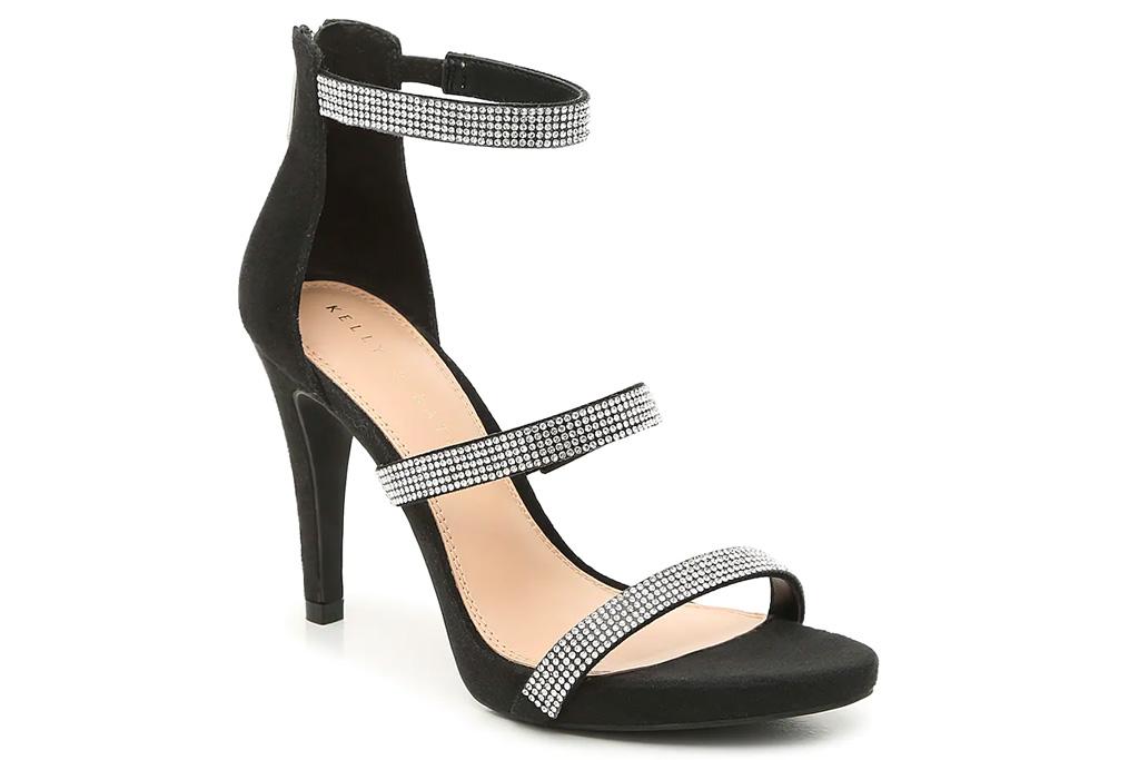 glittering sandals, black heels,