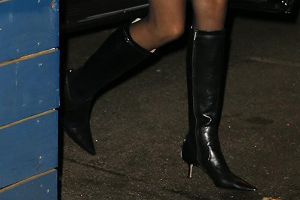 kendall jenner, blazer, dress, tights, skirt, boots, knee-high boots, dinner, new york