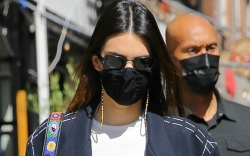 kendall jenner, jeans, tee, coat, loafers,