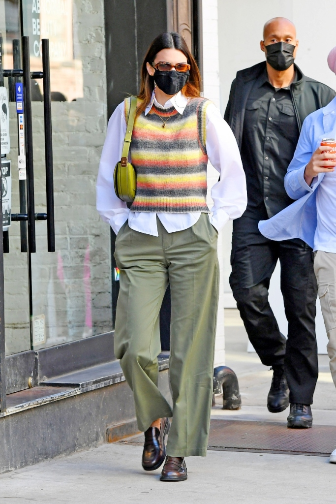 kendall jenner, blazer, dress, tights, skirt, boots, knee-high boots, dinner, new york, sweater vest