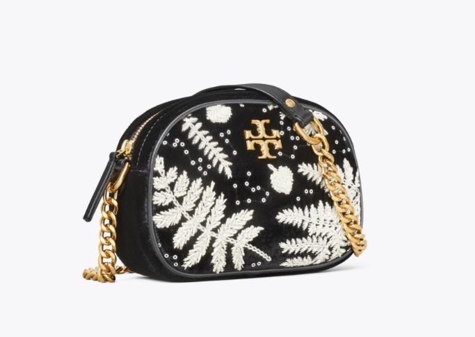 Kira Embroidered Velvet Small Camera Bag