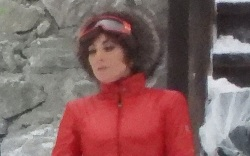lady gaga, catsuit, red jumpsuit, ski,