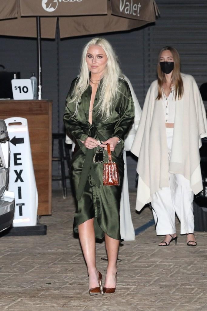lindsey vonn, dress, wrap dress, green, stiletto heels, los angeles, nobu, style, athlete, la