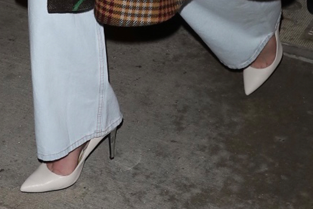 lindsey vonn, jeans, crop top, coat, gucci, heels, white pumps, catch, los angeles, dinner, date
