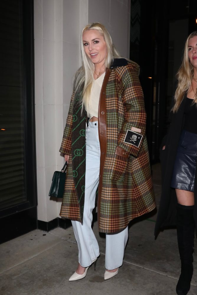 lindsey vonn, jeans, crop top, coat, gucci, heels, white pumps, catch, los angeles, dinner, date