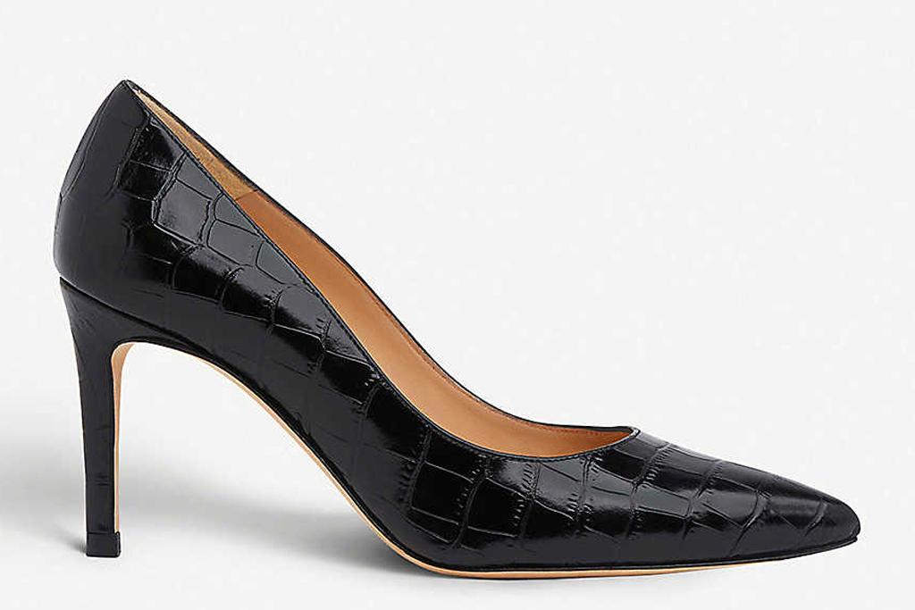 black pumps, embossed, heels, lk bennett