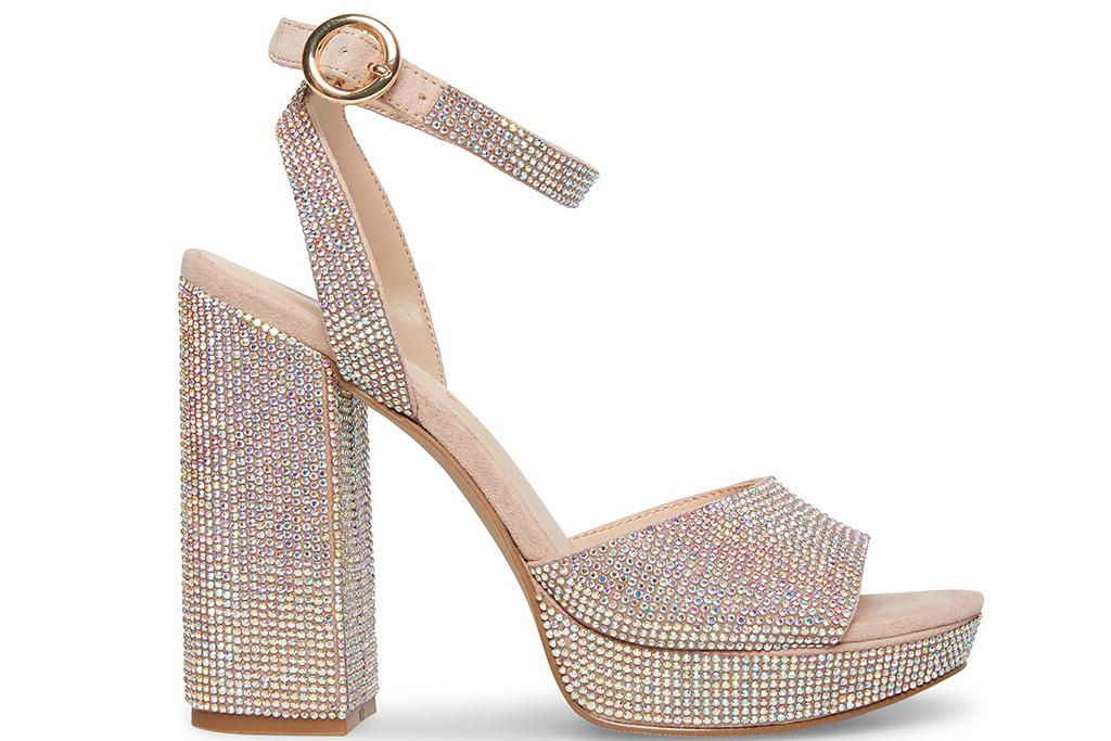 madden girl sandals, shiny sandals, rhinestone shoes