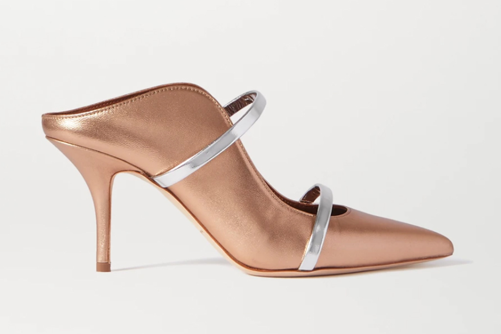 malone souliers, Maureen 70 metallic leather mules, mindy kaling shoes