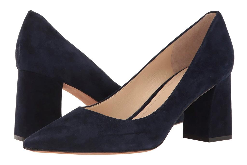 navy heels, pumps, block heel, marc fisher