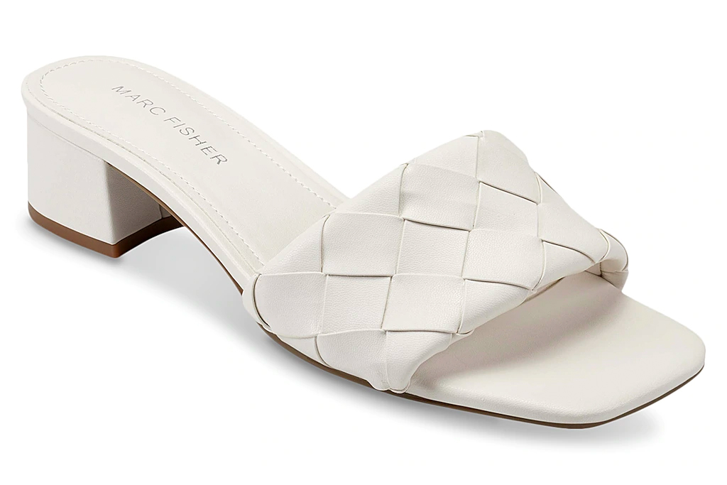 white mules, sandals, square toe, marc fisher