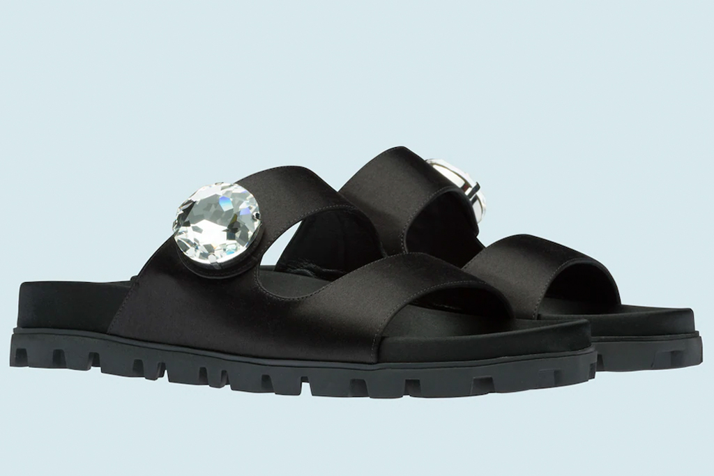 miu miu, sandals, double strap, crystal