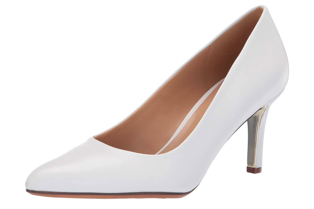 white heels, pumps, naturalizer