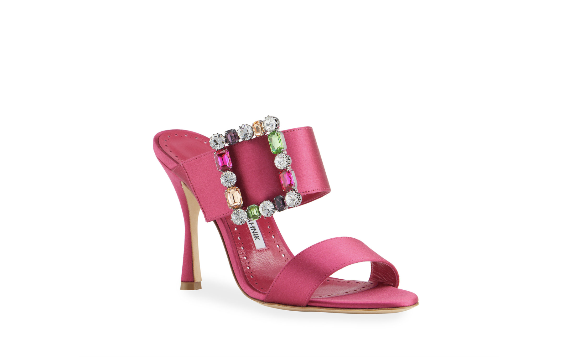 Neiman Marcus x Manolo Blahnik Verda Embellished-Buckle Mule Sandals