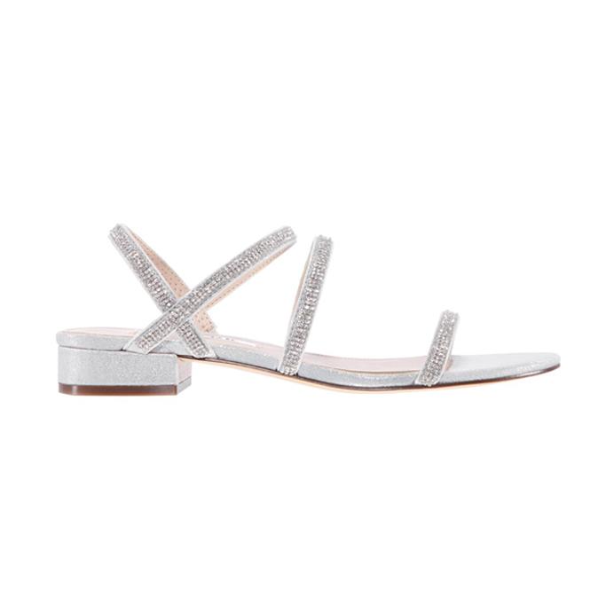 nina swan sandal, best flat wedding shoes