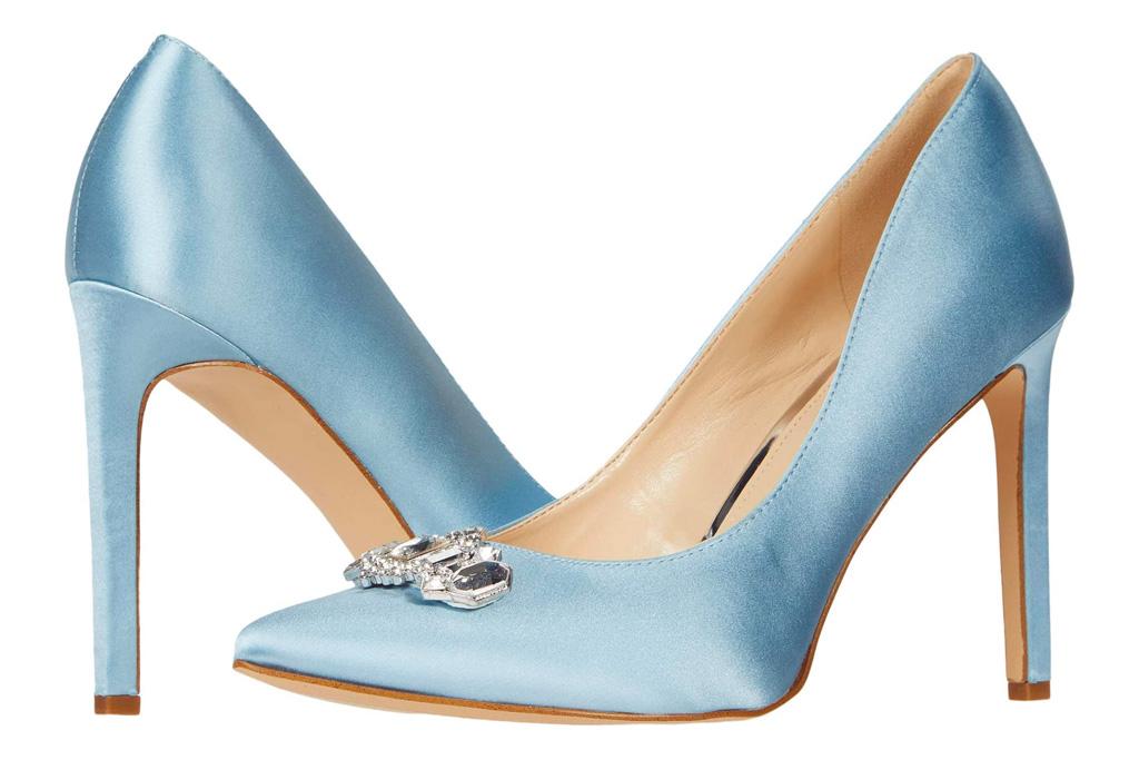 blue heels, pumps, nine west