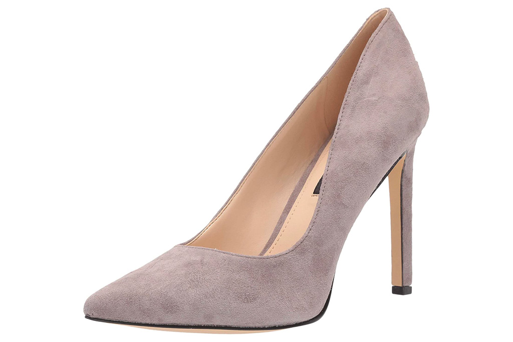 gray heels, pumps, nine west