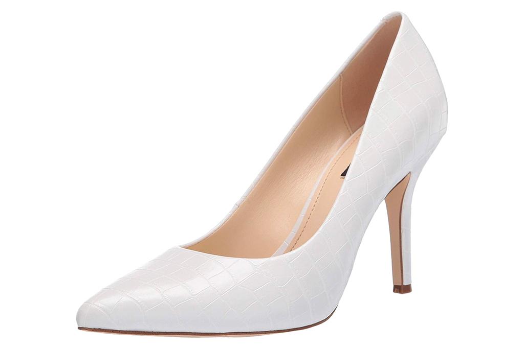 nine west, heels, white