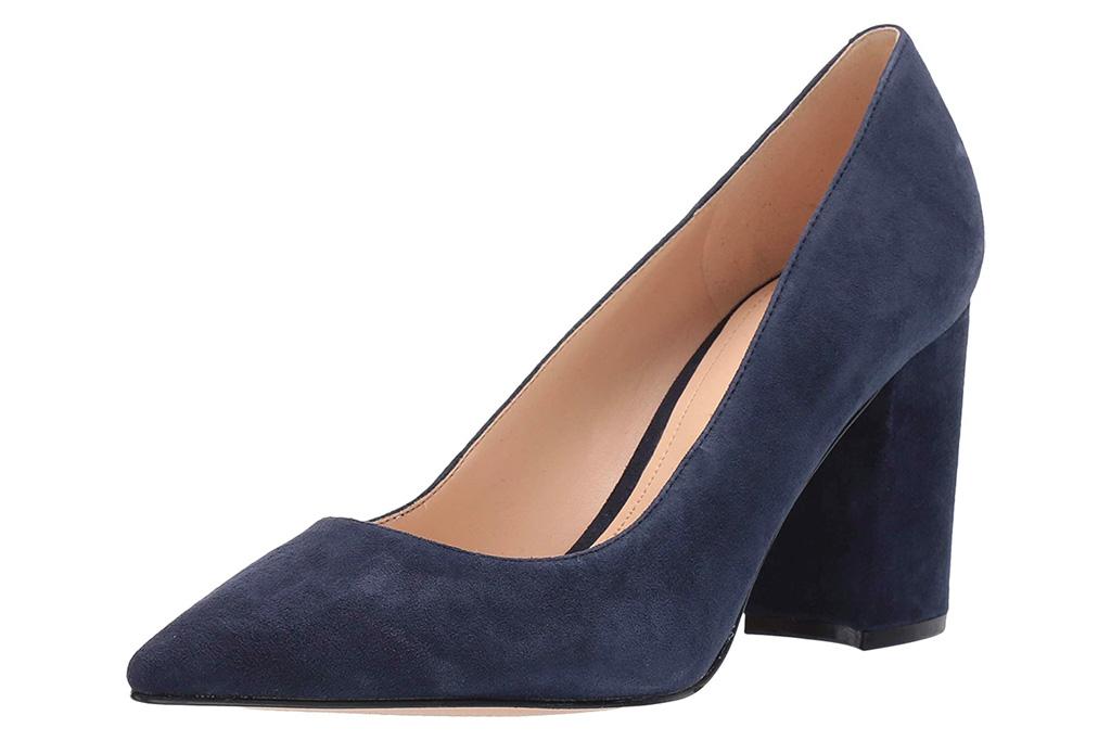 navy heels, pumps, block heel, nine west