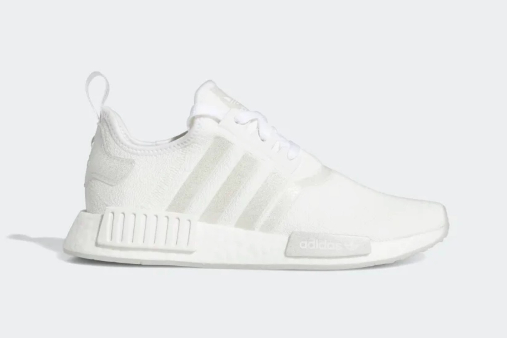 NMD R1 Shoes in Cloud White/ Silver Metallic