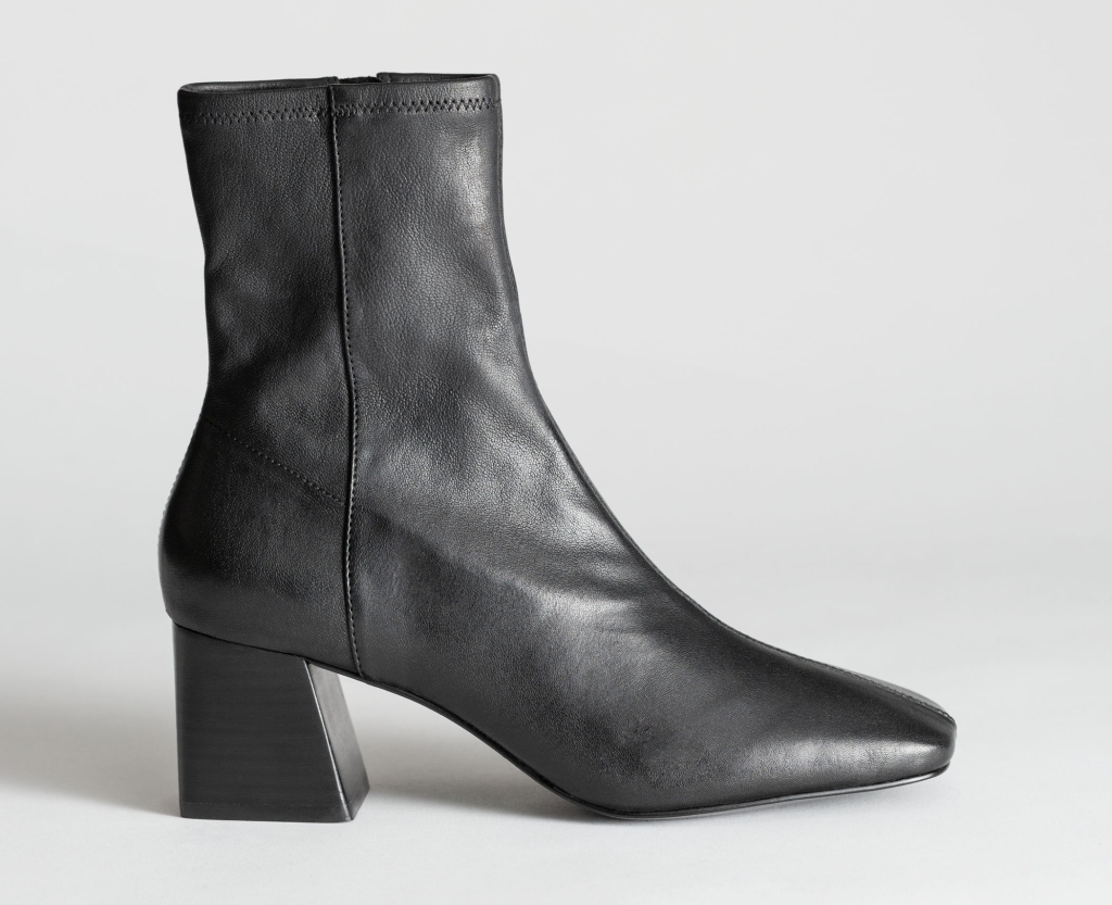 square toe boots, black, leather, other stories