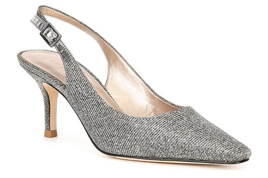 glitter heels, slingback, pelle moda