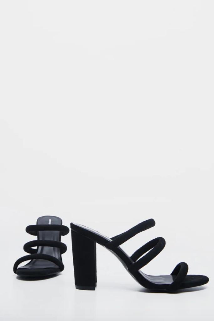 PrettyLittleThing, Black Triple Strap Mule Block Heel Sandal, Sale