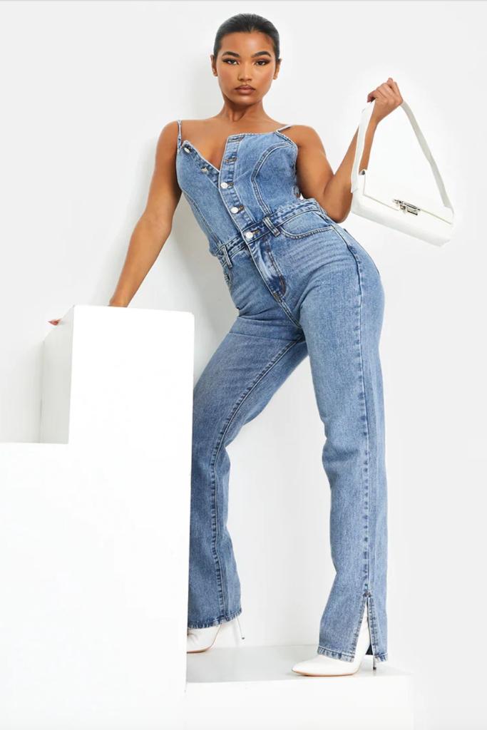 PrettyLittleThing, Light Blue Wash Split Hem Tie Back Denim Jumpsuit, Sale