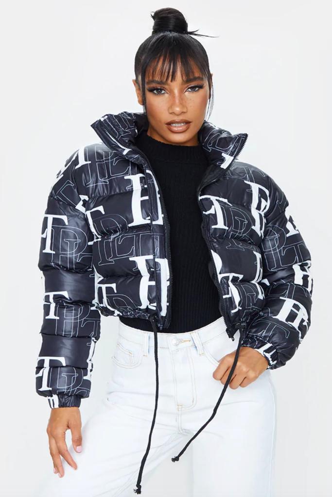 PrettyLittleThing, Black Crop Puffer Jacket, Sale