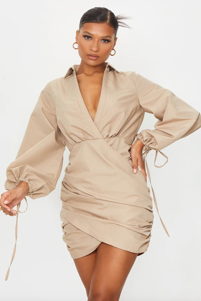 PrettyLittleThing, Stone Plunge Ruched Tie Cuff Shirt Bodycon Dress, Sale