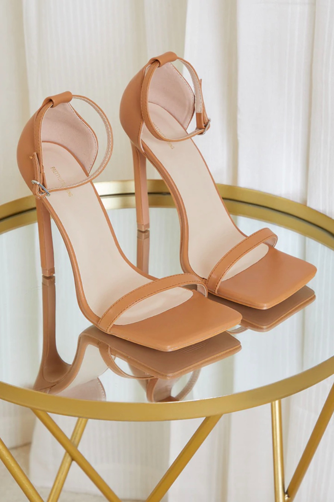 PrettyLittleThing, Tan Clover Barely There Strappy Squared Toe Heeled Sandal, Sale