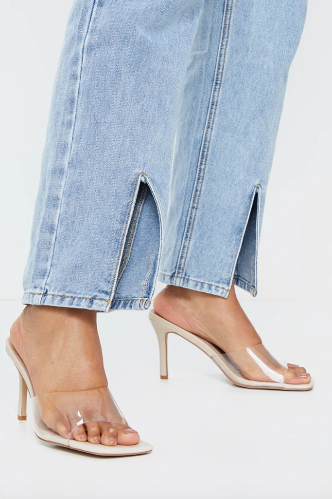 PrettyLittleThing, Nude Clear Strap Square Toe Mule Mid Heel, Sale