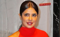 priyanka chopra, jonas, red dress, boots