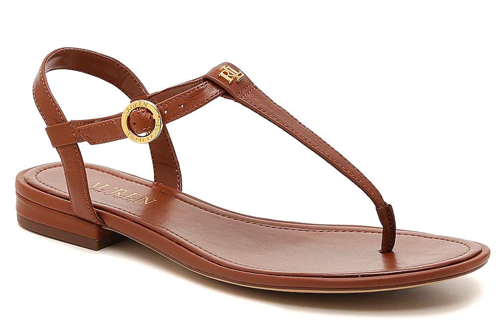 thong toe sandals, t-strap sandals, ralph lauren