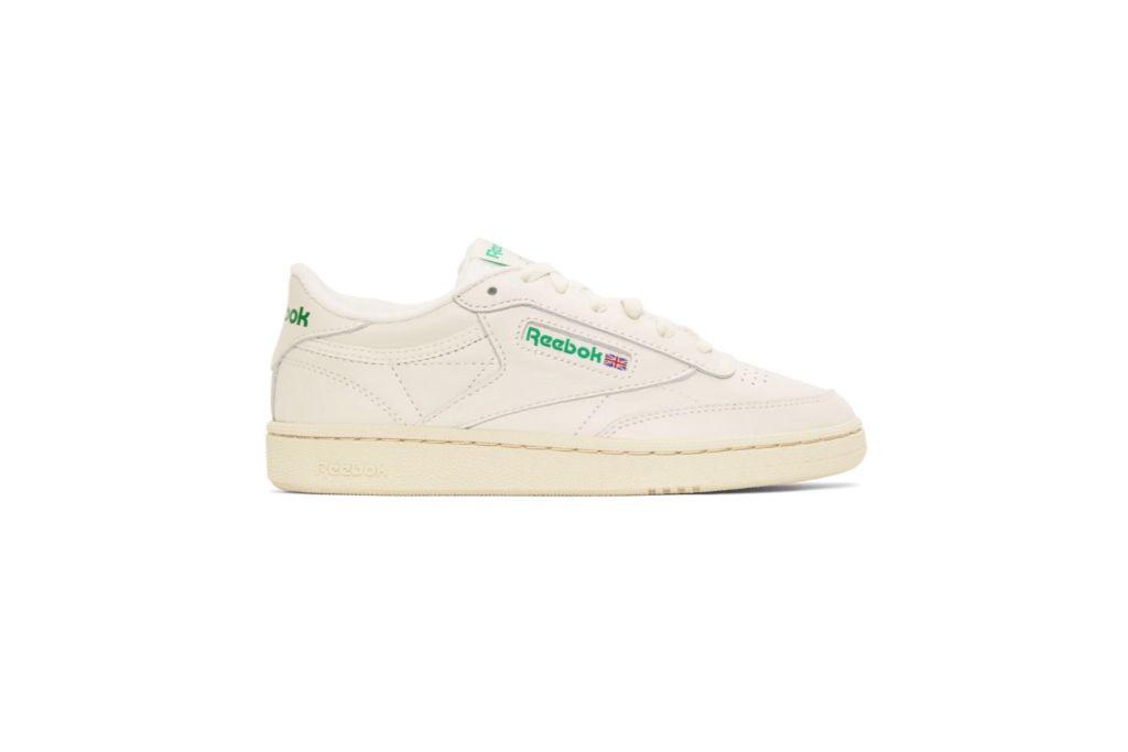 reebok off-white, green club c 85 vintage sneakers