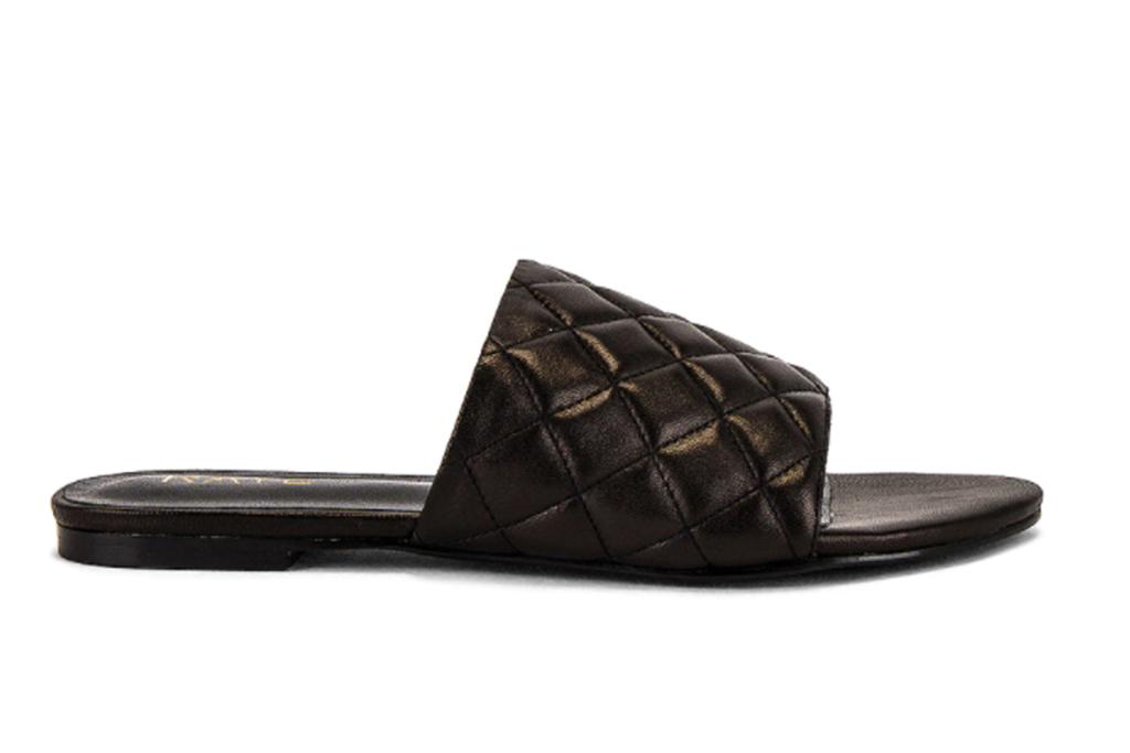 black leather slides, black sandals, leather sandals