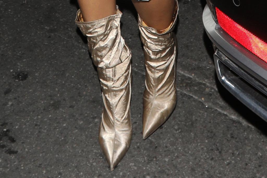 rihanna, slip dress, silk dress, dress, boots, satin, leather jacket, los angeles, dinner, la