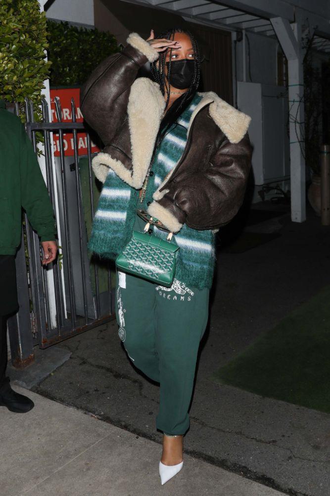 rihanna, sweatpants, sweater, cardigan, jacket, coat, leather, heels, pumps, amina muaddi, santa monica