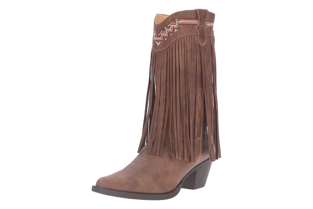 fringe boots, knee-high boots, roper