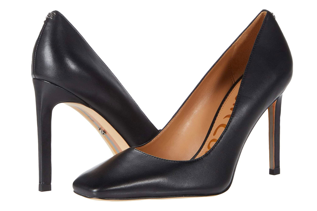 black heels, pumps, square toe, sam edelman