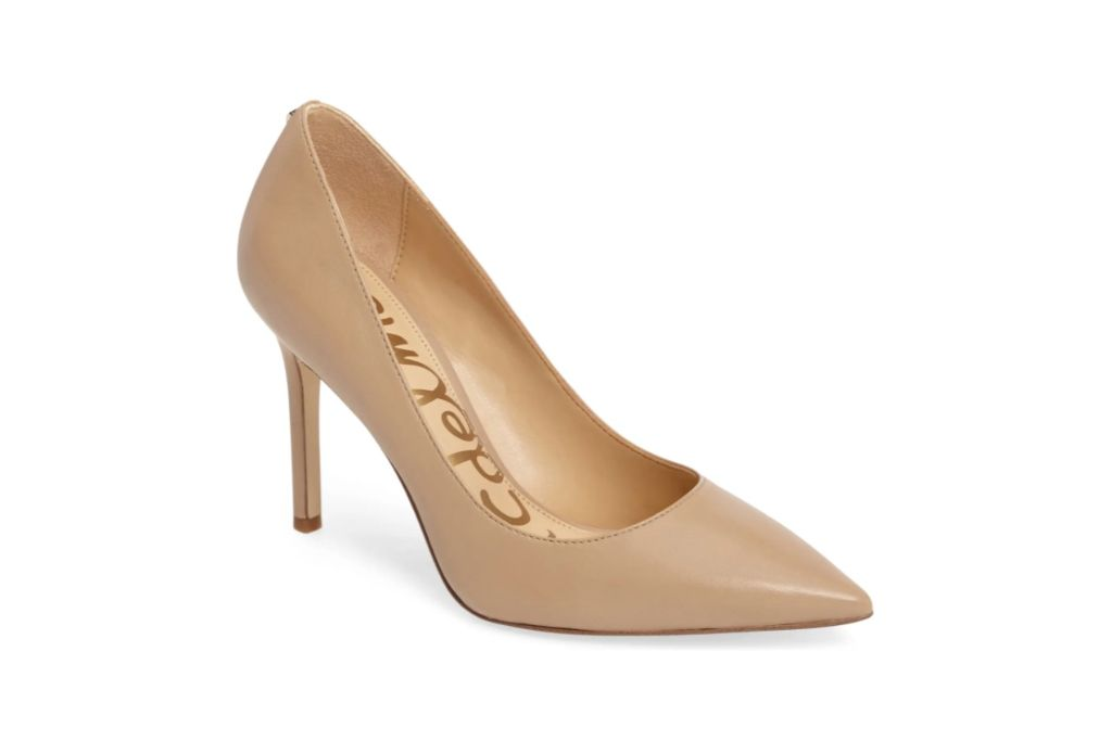 sam edelman, hazel pointed toe pump, nude heels