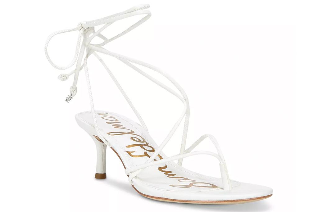 white heels, sandals, ankle wrap, sam edelman