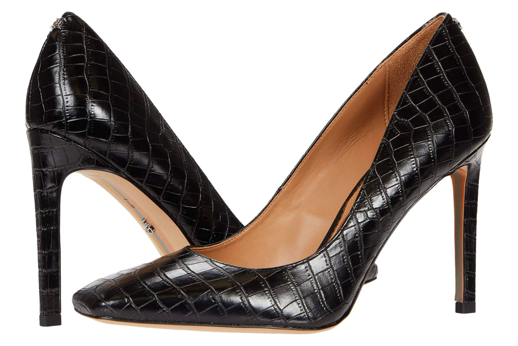 croc heels, embossed pumps, sam edelman