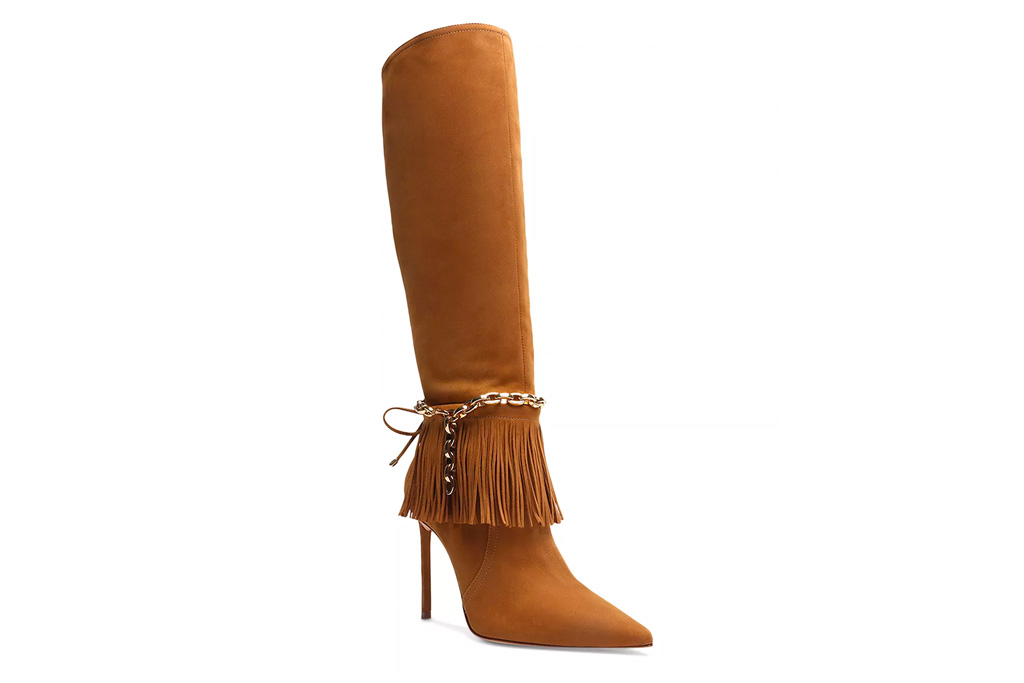 fringe boots, knee-high boots, schutz