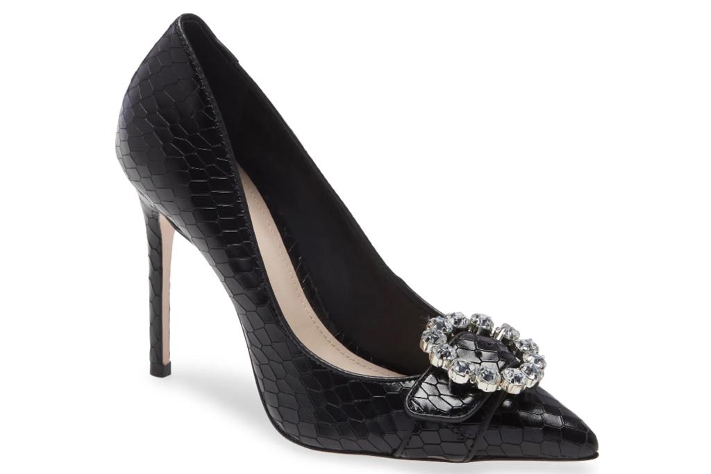 black pumps, embossed, heels, schutz