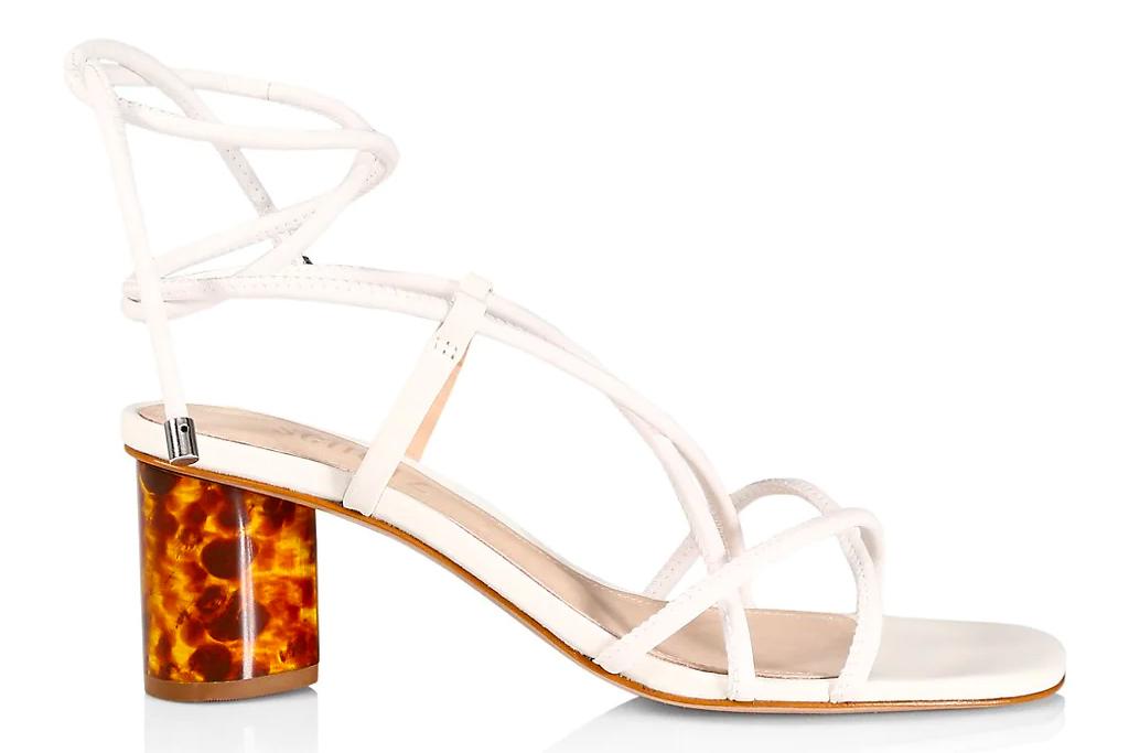 white heels, sandals, ankle wrap, schutz