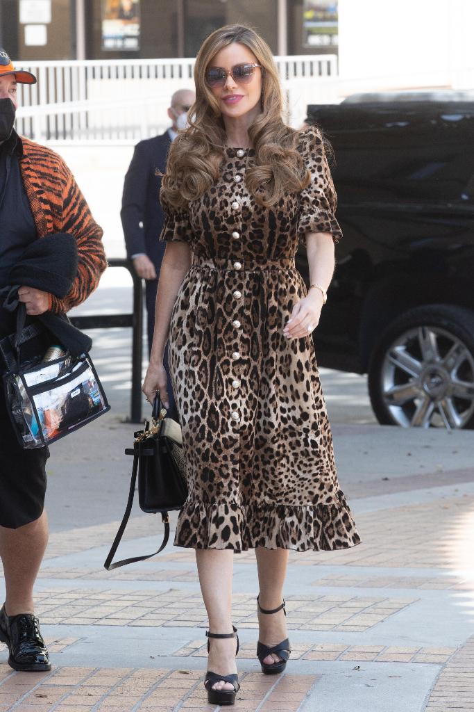 Sofia Vergara, leopard print dress, black platform heels, la