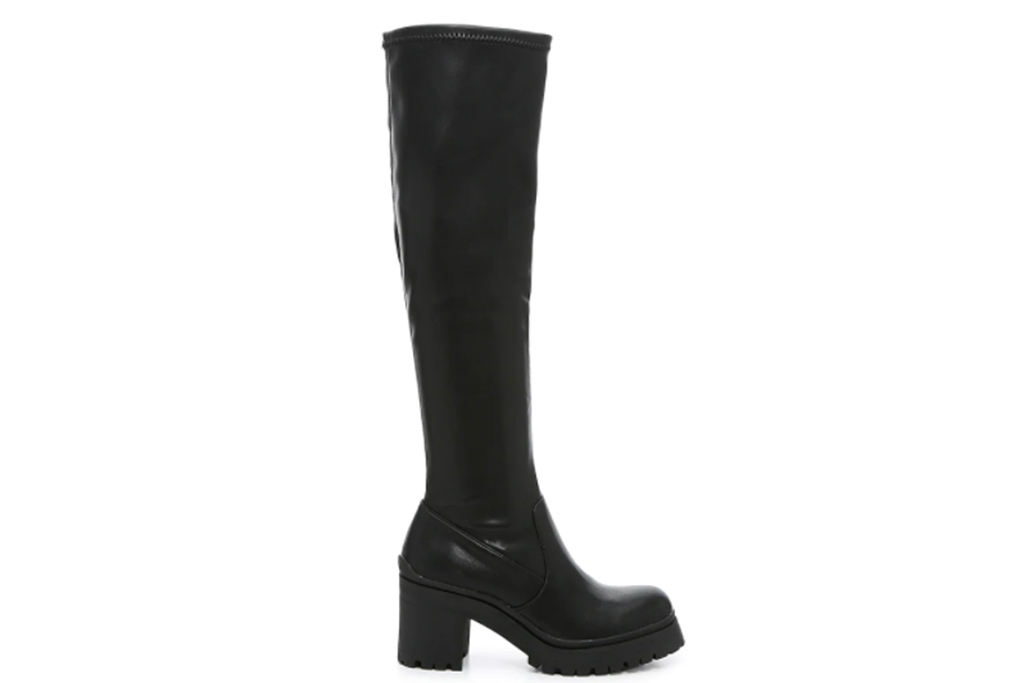 chunky black boots, over the knee boots, steve madden boots